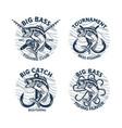 set largemouth bass fishing logo club vector image