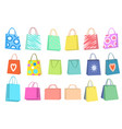 set multi-colored shopping bags different vector image vector image