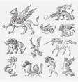 set of mythological animals mermaid minotaur vector image