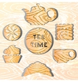 Set of tea time Effect of the shadow vector image vector image