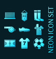 set soccer blue glowing neon icons vector image