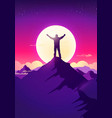 silhouette man on top mountain vector image