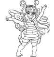 Small girl in carnival suit bee black outline vector image vector image