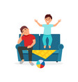 tired father sitting on the couch next to the vector image vector image
