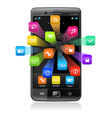Touchscreen smartphone with application icons vector | Price: 1 Credit (USD $1)