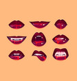 vampire mouth with fangs set female red lips vector image
