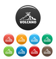 volcano icons set color vector image vector image