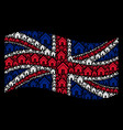 waving great britain flag collage of home icons vector image vector image
