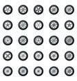 wheel icons colored set - car wheels disks vector image vector image