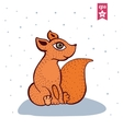Cute red fox vector image