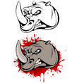 head of angry rhinoceros vector image