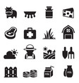 milk farm icons set vector image