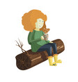 a cute red hair girl sits on the log vector image