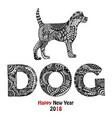 animal and dog text handdrawn card vector image