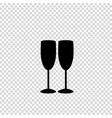 black silhouette of couple wine glasses isolated vector image