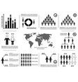 black simple population icons template set vector image