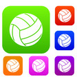 black volleyball ball set color collection vector image vector image