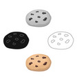 chocolate chip cookies icon in cartoonblack style vector image