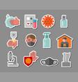 coronavirus stickers vector image vector image