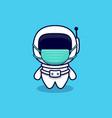 cute astronaut wearing mask cartoon icon flat