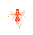 cute orange fairy in flight with a magic wand vector image vector image