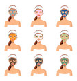 different color facial mask vector image