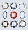 different round ship and plane portholes vector image