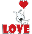 Dog with the heart vector image vector image