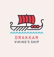 drakkar viking ship vector image vector image