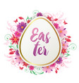 easter card with red and pink flowers vector image vector image