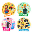 farmer photographer engineer tailor professions vector image vector image