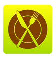 fork knife and plate sign brown icon at vector image vector image