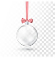 glass transparent christmas ball hanging on pink vector image
