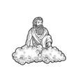 god on cloud sketch vector image vector image