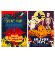 halloween monster horror night party invitation vector image vector image