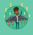 happy businessman flying on the rocket to success vector image vector image