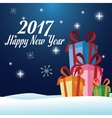 happy new year 2017 greeting card gifts over snow vector image vector image