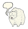 huge polar bear cartoon with speech bubble vector image vector image