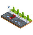 isometric cars in the parking lot or car parking vector image vector image
