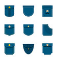 jeans pocket icon set flat style vector image