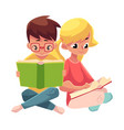 kids boy in glasses blond girl with ponytails vector image vector image