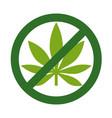 marijuana leaf with forbidden sign - no drug no vector image vector image