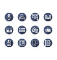 medical clinic blue round icons set vector image vector image