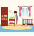 mother changing diaper in baby room vector image