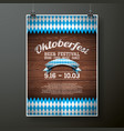 oktoberfest poster with flag on wood texture vector image vector image