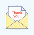 open letter with a thank you message vector image vector image