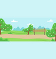 park with trees treadmill and bench vector image vector image