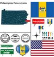 Philadelphia Pennsylvania set vector image vector image