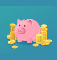 piggy bank and coins vector image vector image