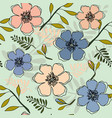 pretty peach and blue floral repeat print pattern vector image vector image